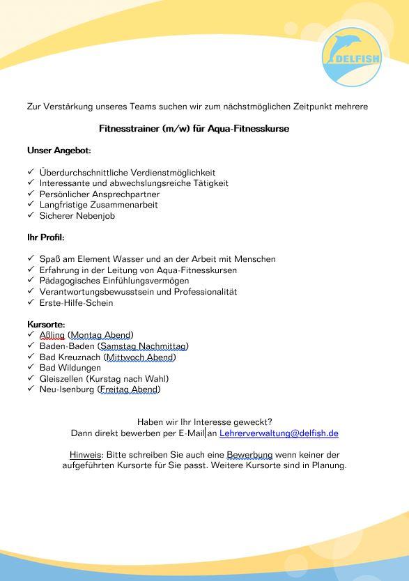 jobs bewerbung schwimmschule delfish - Bewerbung Fitnesstrainer